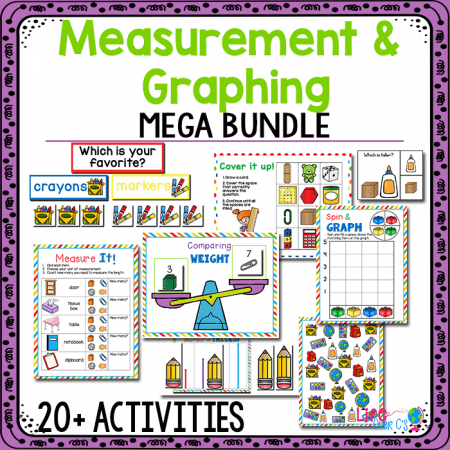 20+ Measurement and Graphing printables for kindergarten math centers.