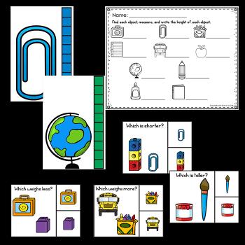 Measurement activities, measure the room and measurement comparison clip cards.