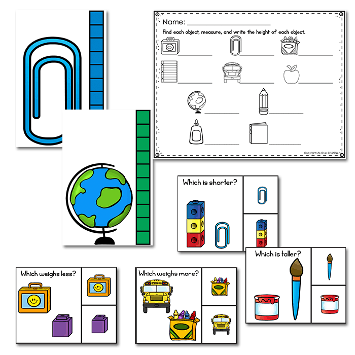 Measurement activities, measure the room and measurement comparison clip cards.