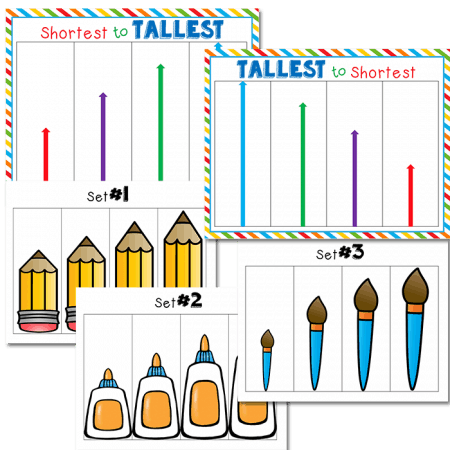 size order card sets for comparing sizes and measurement.
