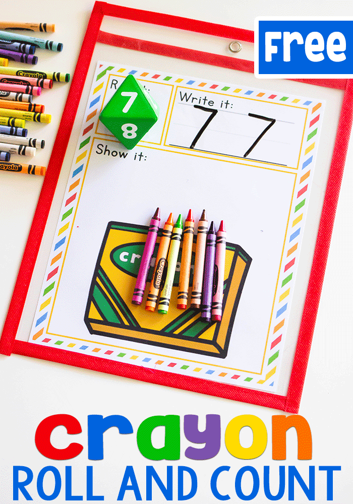 Free printable crayon counting game for math centers. Roll the dice and count the correct number of crayons.
