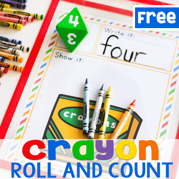 Count the correct number of crayons with this dice game for math centers. Free printable crayon counting math game.