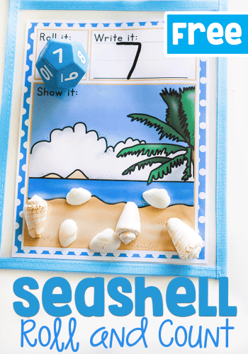 Free prinable seashell roll and count math game for kindergarteners. Count the seashells to match the number rolled on the dice.