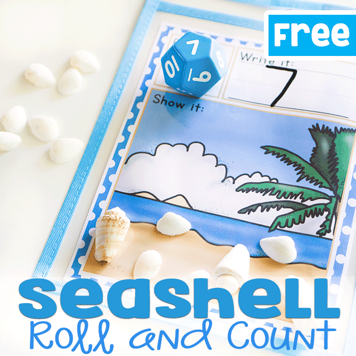 Count the seashells on this free printable seashell math game for preschoolers.