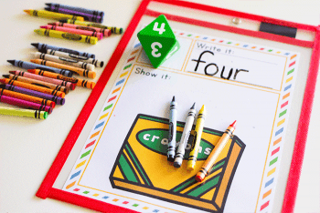 Count crayons with this free printable math game for counting. Kindergarteners love these roll and count games.
