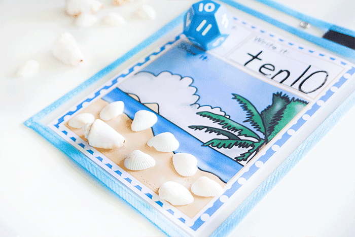 Roll the die and count the correct number of seashells on this free printable math activity.