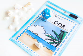 Count the seashells to match the number rolled with this ocean themed math game.