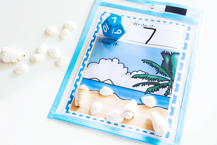 Beach themed free math printable for counting seashells.