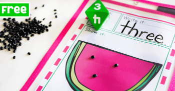 Watermelon counting printable for kindergarten math. Count the number of seeds that is rolled on the dice.