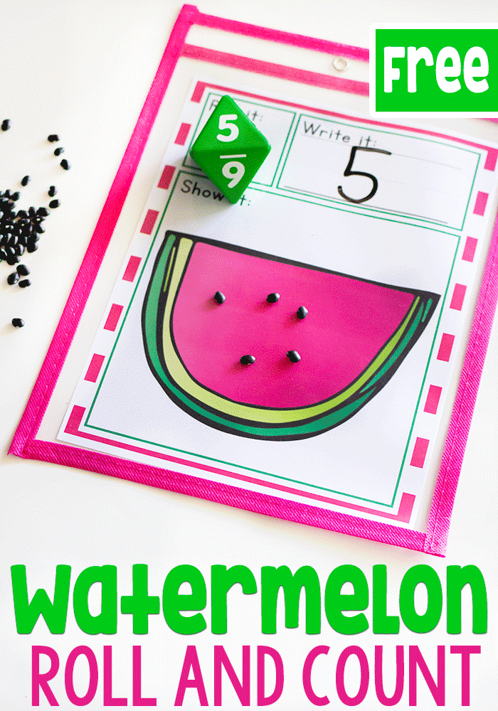 This simple free printable dice game for counting is perfect for your kindergarten math centers.
