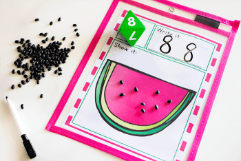 Use this free printable counting activity in your kindergarten math centers. Perfect for a summer or fruit theme.
