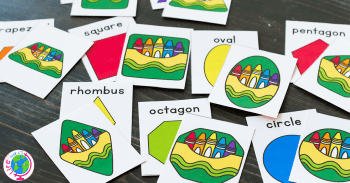 2D Shape Matching Game for kindergarteners with a fun crayon theme.