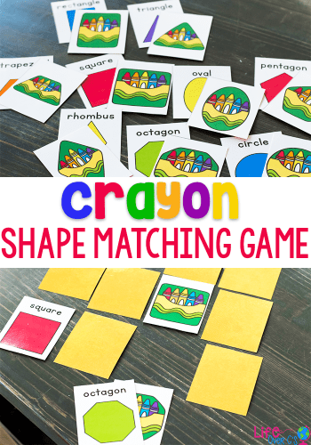 2D shape math game for kindergarteners. Match the 2D shape crayons.