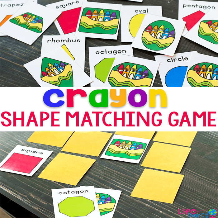 2D shape activity with a fun crayon theme. Play memory with these fun crayon themed shape cards.
