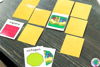 Free printable 2D shape activity for kindergarten and pre-k.