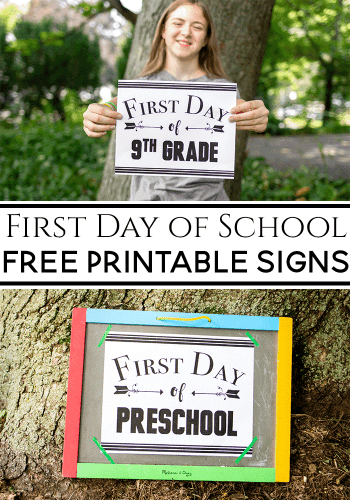 Free black and white first day of school signs for photo props.