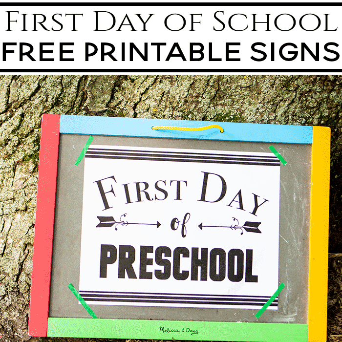 This black and white free printable first day of school sign is a great addition to your back to school photo shoot.