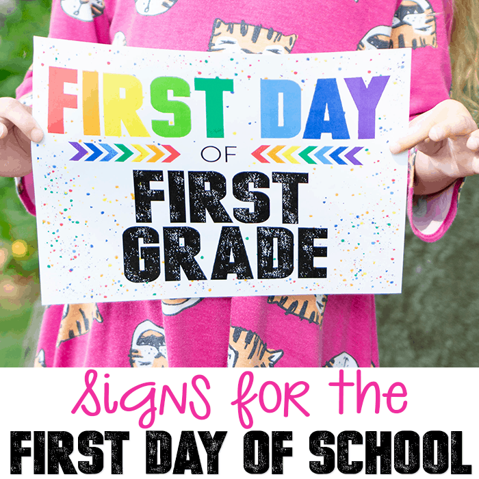 Get these free printable first day of school signs to remember their first day back to school.