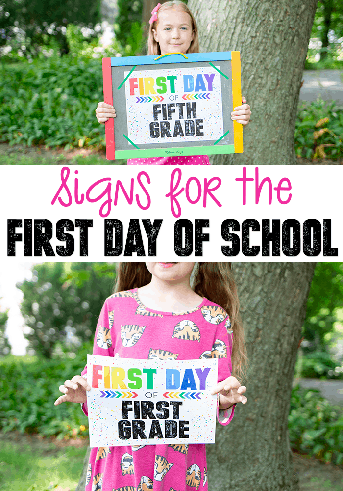 Colorful First Day of School Signs. Print these signs for back to school. #freeprintable #bts #backtoschool #preschool #prek #kindergarten #printable #family #bts2018 #bts2019