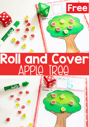 Free printable apple tree roll and count math activity.