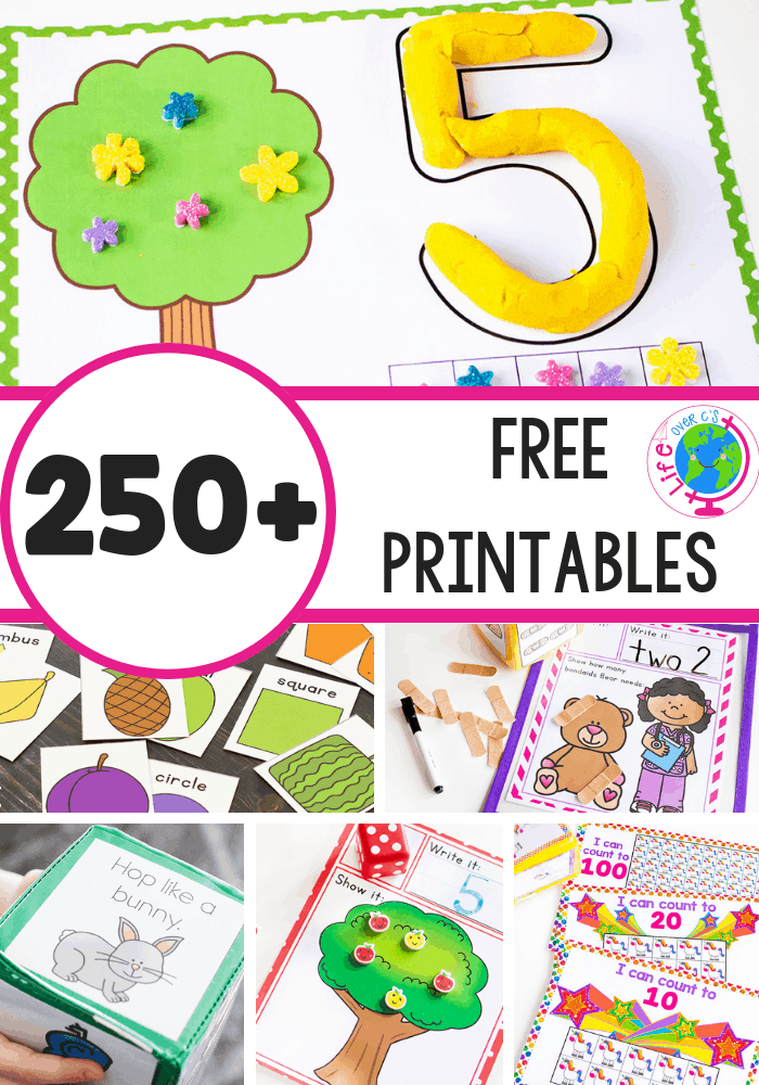 250 Free printable activities for preschool, kindergarten and elementary
