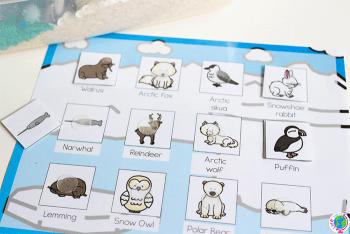 Preschool matching game for arctic animal theme.