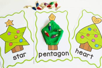 Christmas themed preschool shape activity. Free printable Christmas Tree play dough mats for 2D shapes.