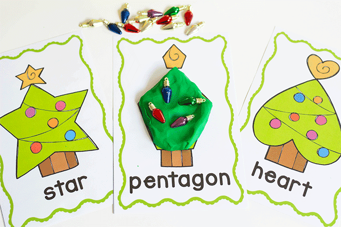Christmas themed preschool shape activity. Free printable Christmas Tree play dough mats for 2D shapes.