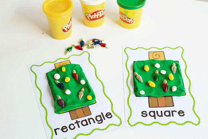 Preschool shape activity: Christmas Tree play dough shape mats