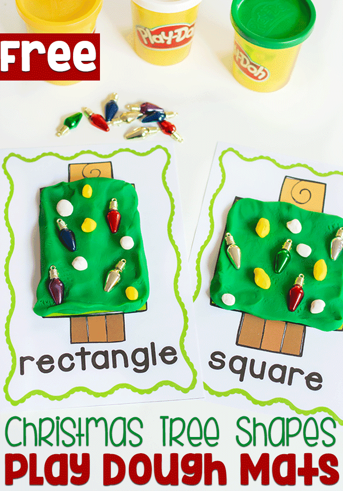 Free printable 2D shape play dough mats for learning shapes in preschool.
