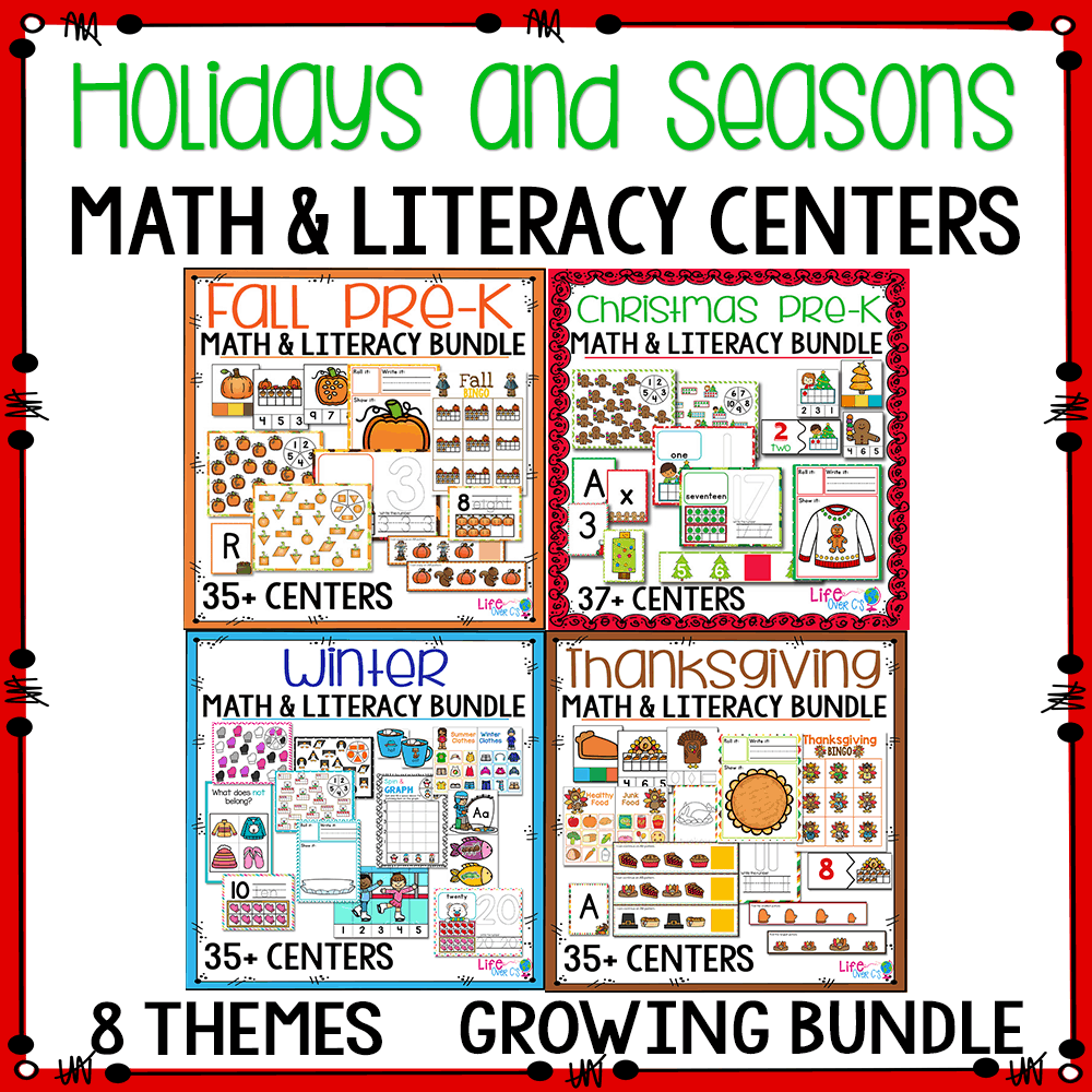 Math and Literacy Activities for Preschool. Preschool themes: Holidays and Seasons