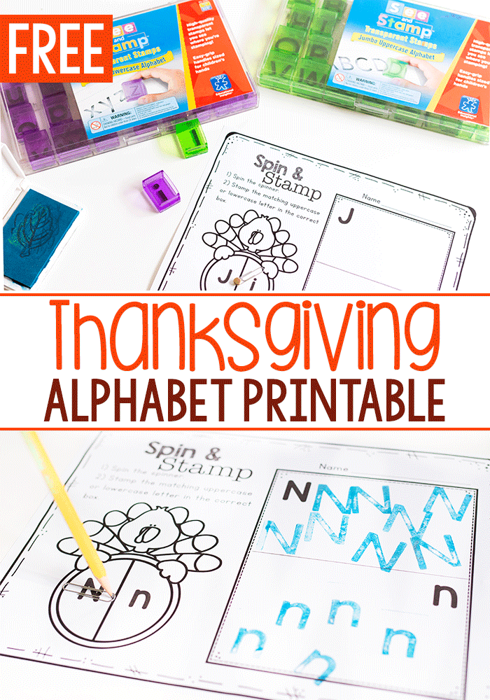 Preschoolers will love learning about uppercase and lowercase letters with this Thanksgiving Alphabet Activity. This free printable is perfect for fall! #freeprintable #preschool #alphabet #kindergarten #thanksgiving #fall