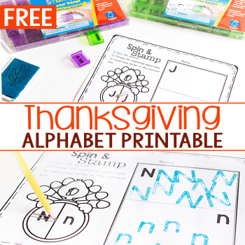 Free printable alphabet activity for Thanksgiving.