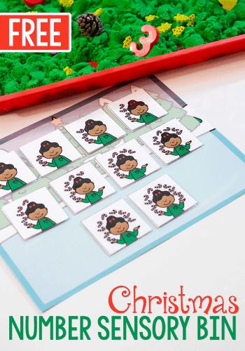 Free printable Christmas Number Activity for sensory bins.