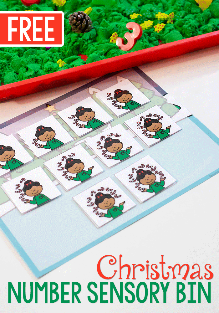 Free printable Christmas Number Activity for sensory bins.