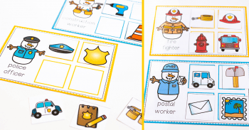 Free printable community helpers activities for your winter theme. Fun snowmen community helpers sorting, matching and word cards.