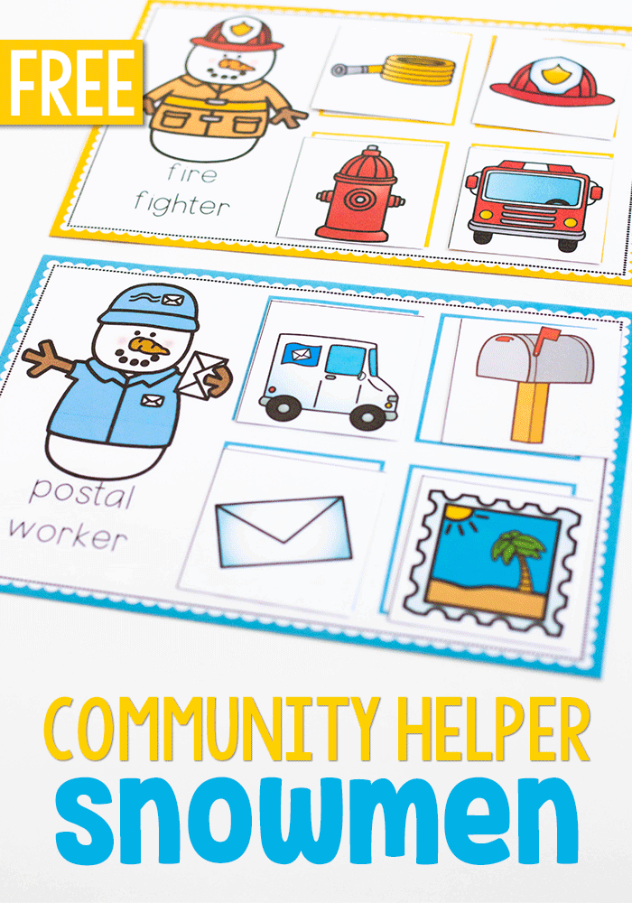 Sort community helper tools, vehicles and uniforms with this free printable community helper preschool activity pack.