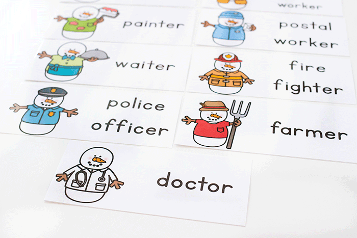Community Helper Preschool word work activities. Free printable word cards for a community helper theme.