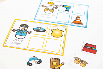 Free printable community helper activities for preschool. Winter themed community helpers sorting, matching and word cards.