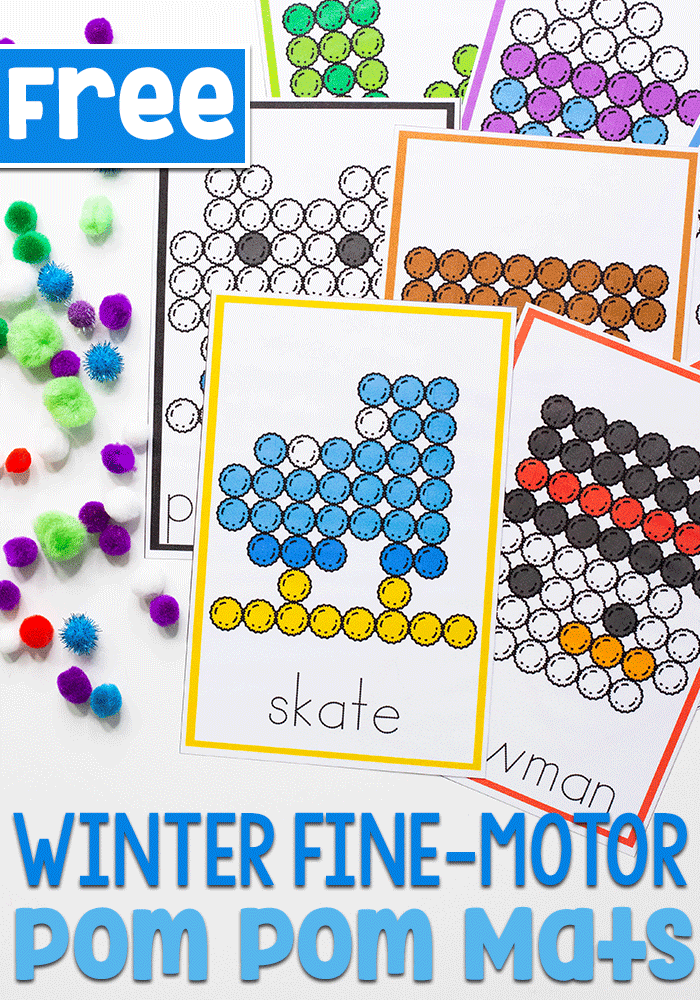 Free printable winter fine motor activity for preschool are perfect for building fine motor skills while matching colors with pom poms.