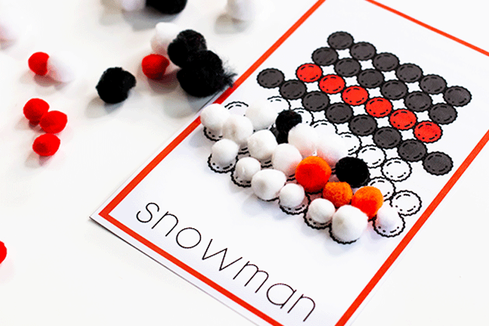 This fun pom pom snowman activity for preschoolers is a fun way to work on fine motor skills during the winter.