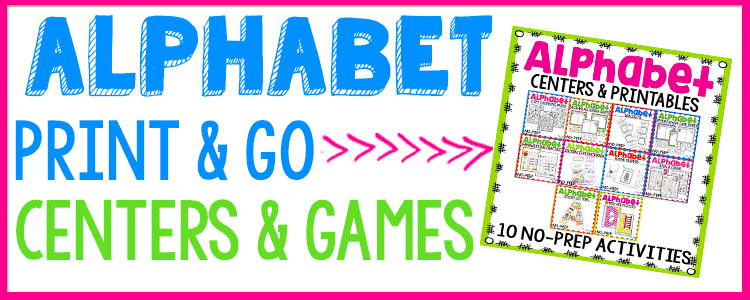 alphabet print and go centers and games.