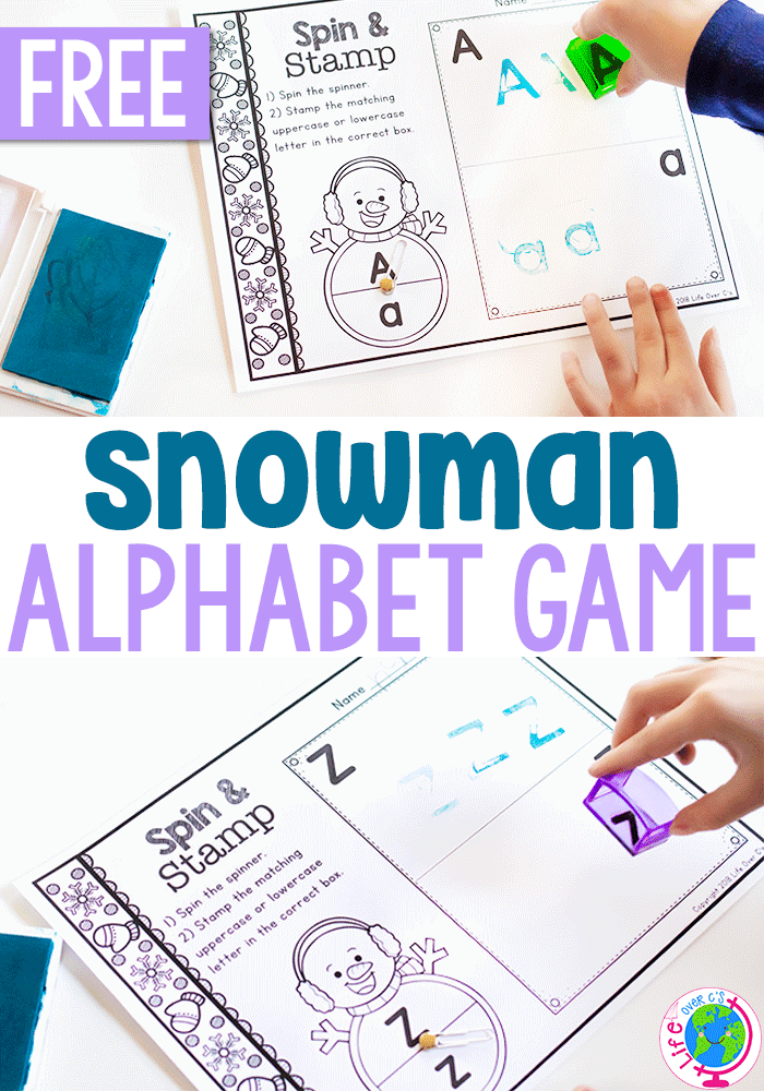 Free printable snowman alphabet activities for letter recognition.