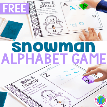 Snowman Spin & Stamp Alphabet Activity square featured image.