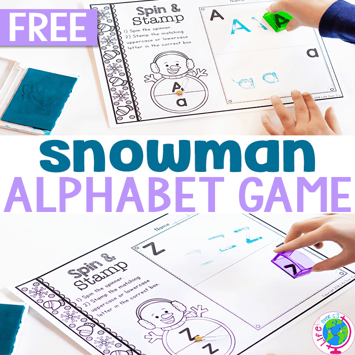 Snowman Spin & Stamp Alphabet Activity for Preschool