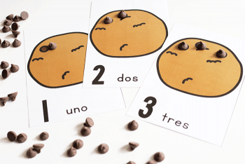 Learning to count in Spanish is so fun with these chocolate chip counting cards in Spanish!