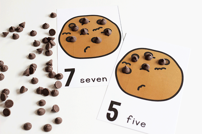 Count to 10 with these free printable chocolate chip counting printables for preschool.