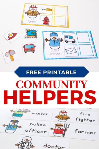 Winter themed community helpers printable sorting activity.