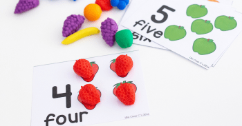 Free printable fruit counting cards for preschool math.