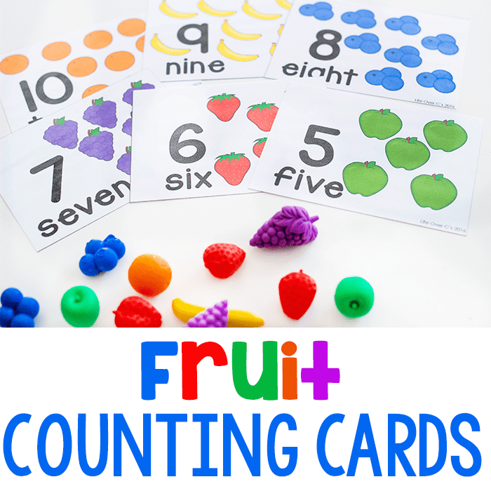 Free Printable Fruit Themed Counting Cards for Preschool